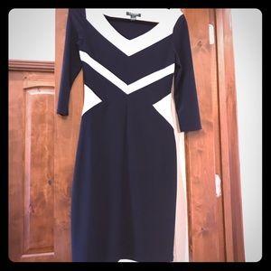 EUC. Knee length Ralph Lauren Navy & White Dress